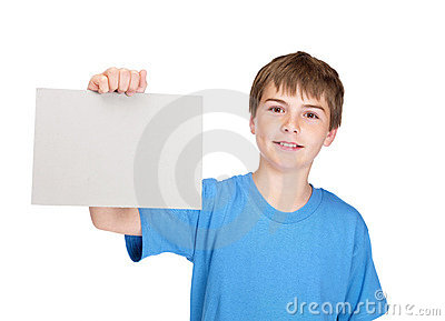 Boy holding a blank board for texting