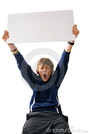 Boy holding blank white sign