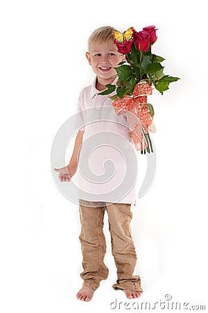 Boy holding a bouquet