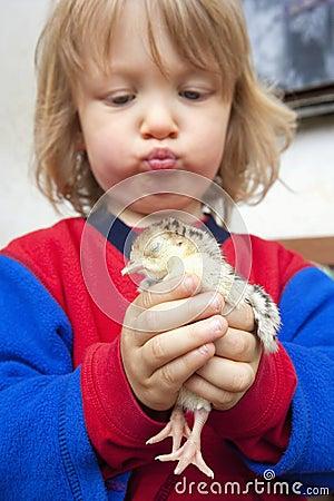 Boy holding a chick