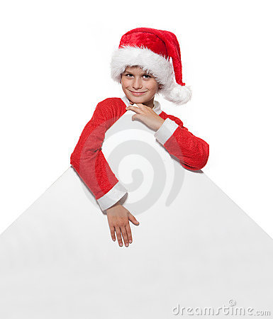 Boy holding a christmas poster