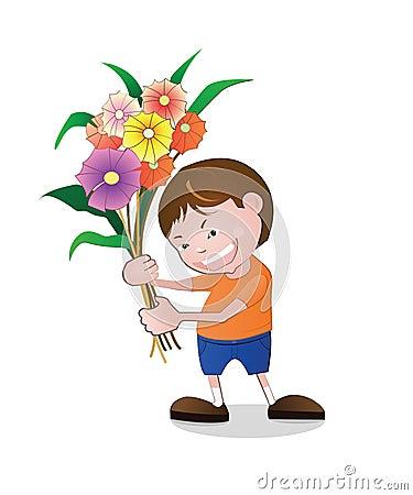 Boy holding flowers.