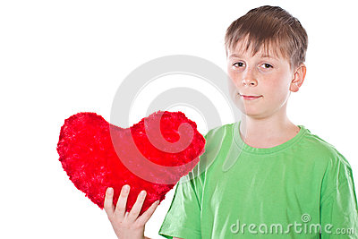 Boy holding a heart