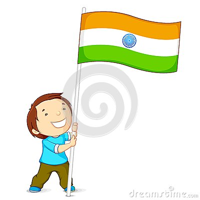 Boy Holding Indian Flag