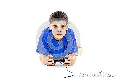 Boy holding the joystick