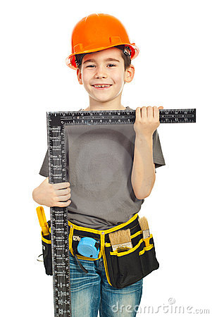 Boy holding L square ruler