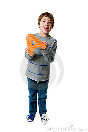 Boy holding a letter A