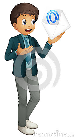 A boy holding mail envelop