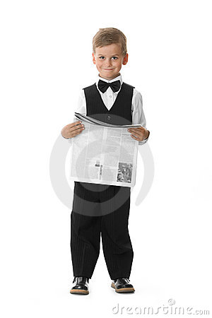Boy holding a newspaper