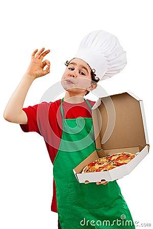 Boy holding pizza showing OK