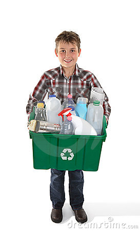 Free Boy Holding Recycling Bin Full Or Rubbish Royalty Free Stock Images - 14596469