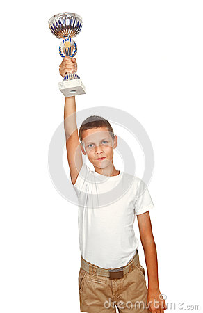Boy holding sport cup