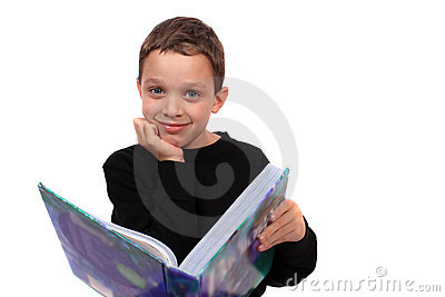 Boy holding a textbook