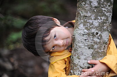Boy holding a tree