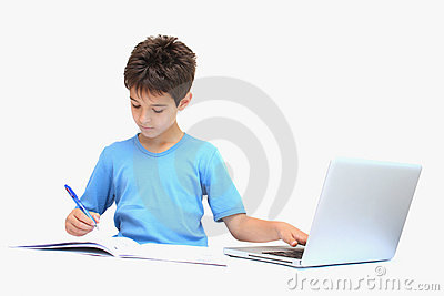 A boy with homework