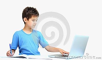 A boy and homework