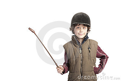 Boy with horse ouTfit and whip