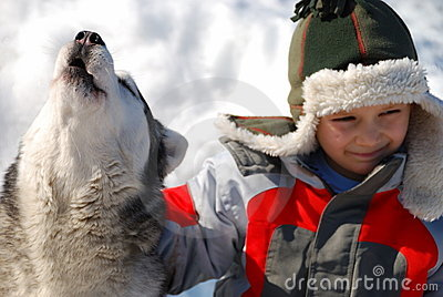 Boy with howling wolf