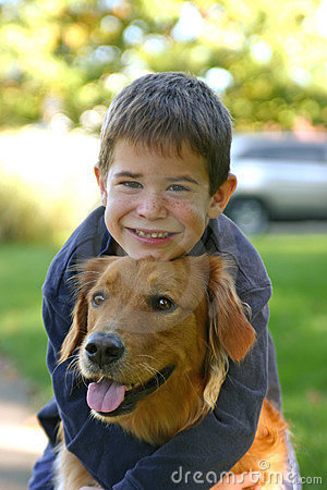 Boy Hugging Dog