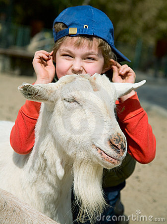 Boy hugging a goat