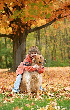 Free Boy Hugging Golden Retriever Royalty Free Stock Images - 3515429