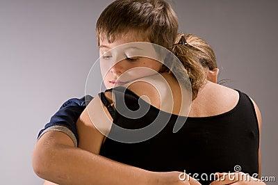 Boy Hugs His Mom Stock Pho