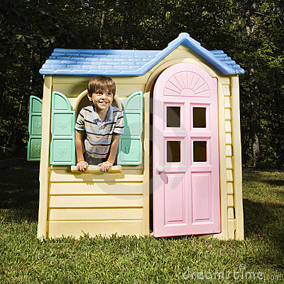 Free Boy In Playhouse. Stock Photos - 4246623