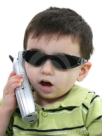 Free Boy In Sunglasses Speaking On The Phone Over White Stock Photography - 122532