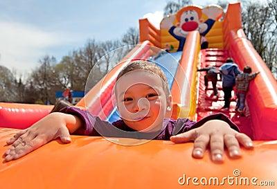 Boy inflatable slide