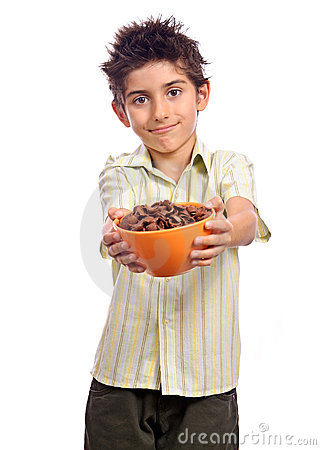 Boy invite cereals healthy meal