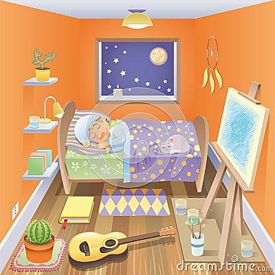 Free Boy Is Sleeping In His Bedroom Stock Image - 11038801