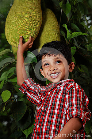 Boy with jack fruit