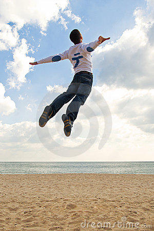 Free Boy Jumping Into The Sky Stock Photo - 11645590