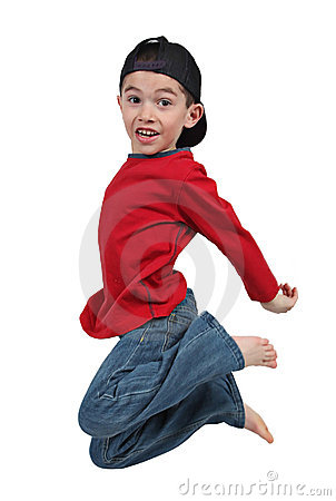Boy jumping in midair