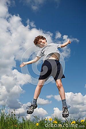 Boy jumping outdoor