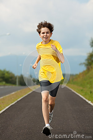 Boy running outdoor