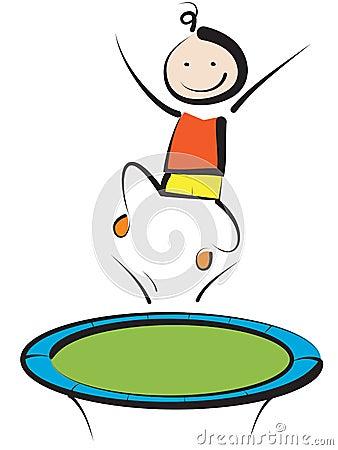 Boy jumping on trampoline Vector Illustration
