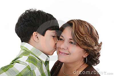Boy kiss his mother