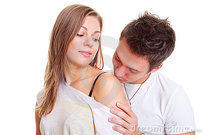 boy kissing his girl in shoulder stock image image 11762351