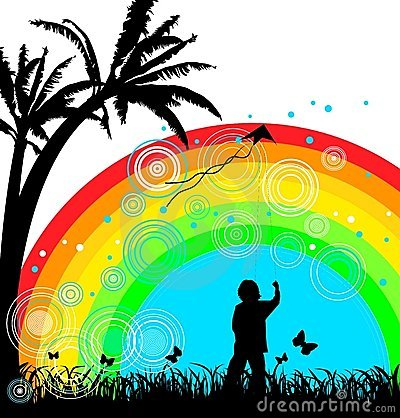 Boy with kite under rainbow