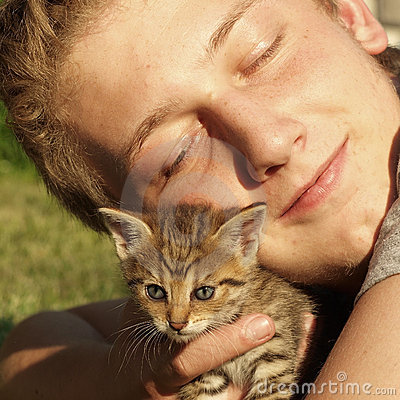Boy with kitten