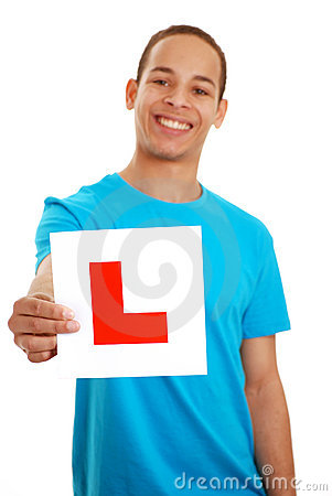 Boy with L plate
