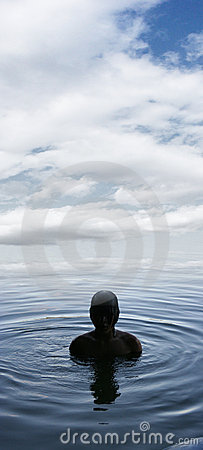 Boy in a lake