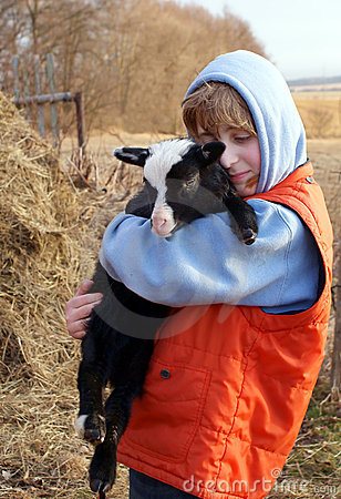 Boy and lamb