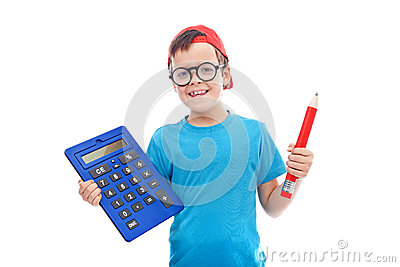 Boy with large calculator and pencil