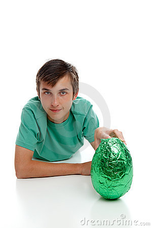 Boy with a large easter egg