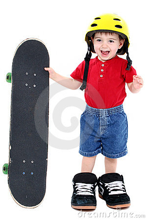 Boy In Large Shoes With Helmet And Skateboard Over White