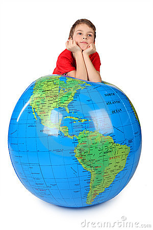 Free Boy Leans On Inflatable Globe Chin On Hands Stock Image - 14950621