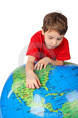 Free Boy Leans On Inflatable Globe Isolated On White Stock Images - 14950634
