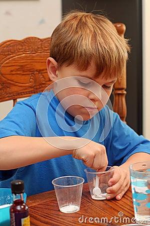 Boy learning science